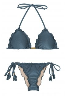 Steel blue side-tie scrunch bikini - GALAXIA FRUFRU
