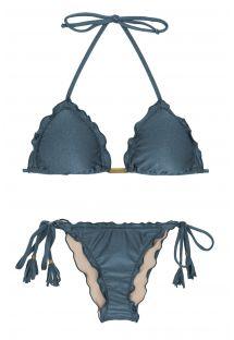 Skrumpet blå bikini med blondekanter - GALAXIA FRUFRU