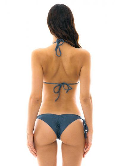 Steel blue side-tie scrunch bikini - GALAXIA FRUFRU