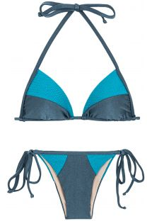Blue tones textured triangle side-tie bikini - GALAXIA RECORTE TRI