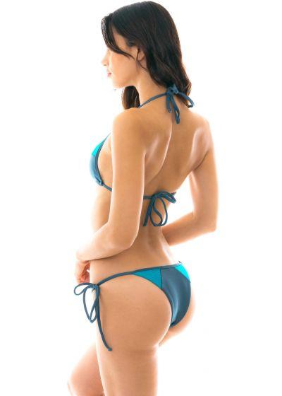 Blue tones textured triangle side-tie bikini - GALAXIA RECORTE TRI