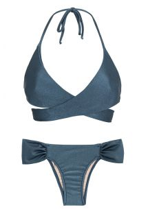 Blue wrap bra bikini with fixed briefs - GALAXIA TRANSPASSADO