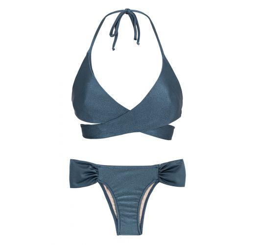Blue wrap bra bikini with fixed briefs - GALAXIA TRANSPASSADO