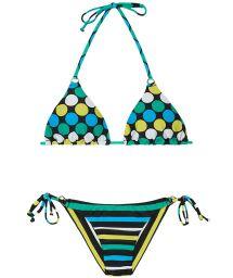 Brazilian bikini with stripes and polka dots - GALAXY CHEEKY