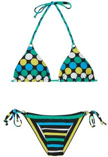 Bikini brasiliano, top a pois e slip con righe - GALAXY CHEEKY