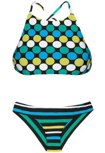 Striped crop top bikini with a mixture of polka-dot prints - GALAXY SPORTY