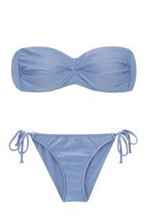 Denimblauer Scrunch-Bikini mit Bandeau-Top - GAROA BAND COMFORT