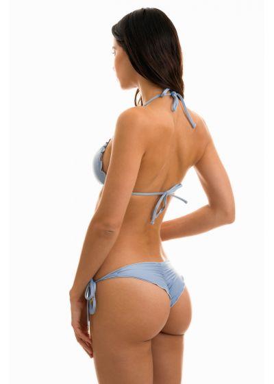 Accessorized denim blue scrunch bikini - GAROA FRUFRU