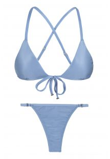 Adjustable denim blue string bikini - GAROA TRI ARG MICRO