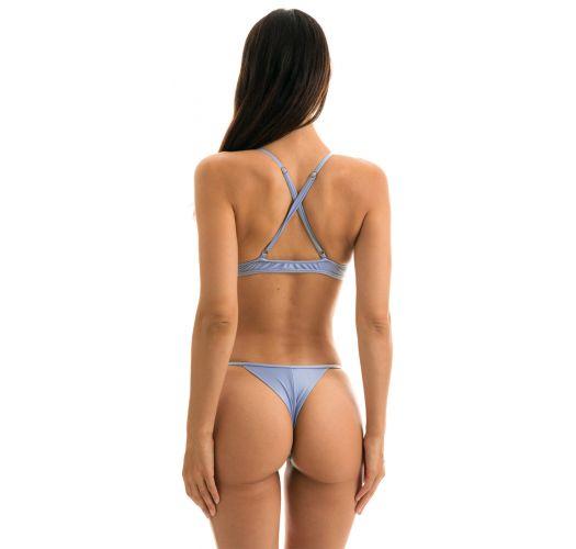 Adjustable denim blue string bikini - GAROA TRI ARG MICRO