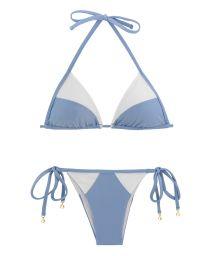 Weiß/denimblauer Triangel-Bikini, Bi-Material - GAROA WHITE TRI