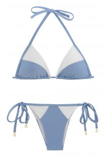 Bikini brasiliano bianco e denim bi-materiale - GAROA WHITE TRI