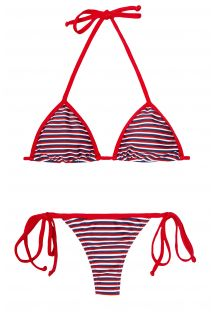 Mavi/beyaz/kırmızı çizgili string bikini - GAROUPA