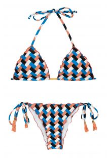 Bikini con laterali allacciati stampa geometrica - GEOMETRIC FRUFRU