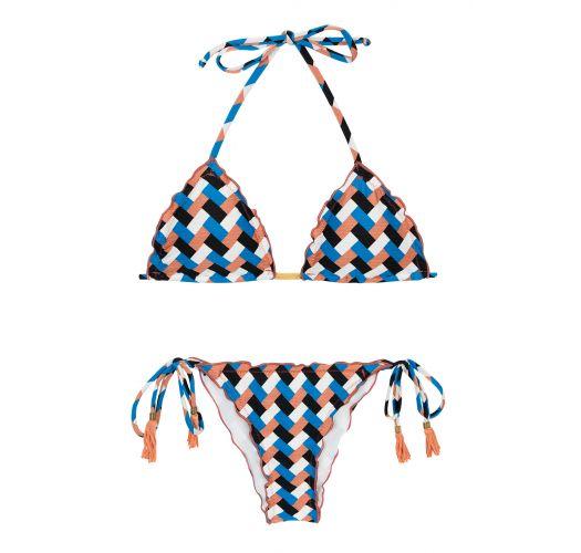 Geometrisk mønstret bikini med knyting på sidene - GEOMETRIC FRUFRU