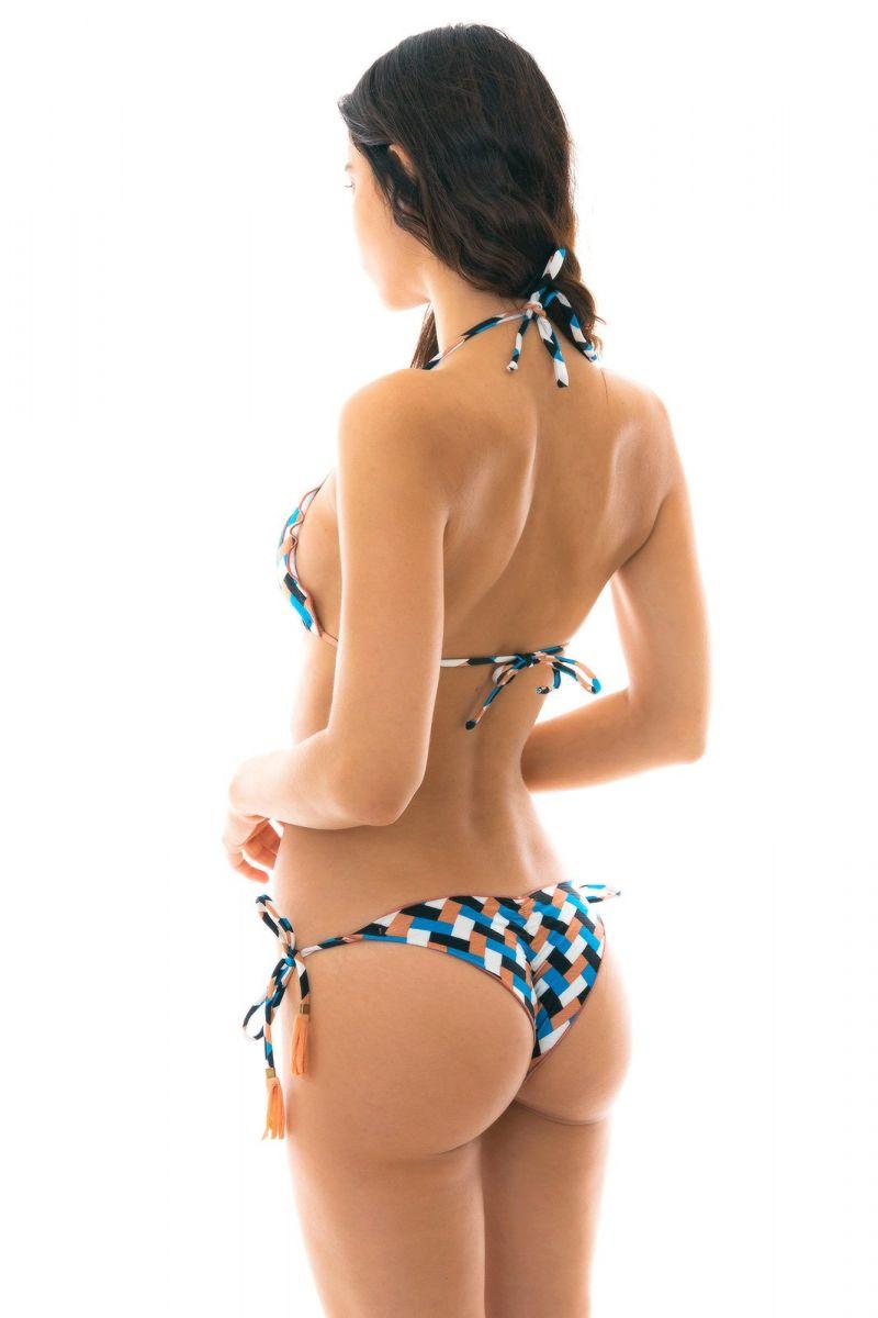 Geometric print side-tie bikini - GEOMETRIC FRUFRU