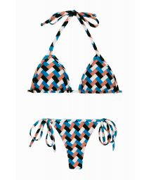 Colorful geometric side-tie string bikini - GEOMETRIC MICRO