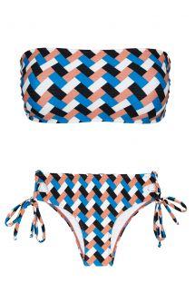Bandeau-Bikini, geometrisch, und an den Seiten gebundenes Höschen - GEOMETRIC RETO