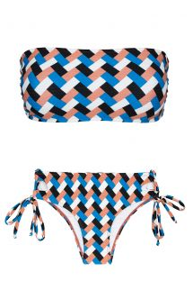 Бикини с бюстгальтером-бандо и плавками на шнуровке по бокам с геометрическим узором - GEOMETRIC RETO