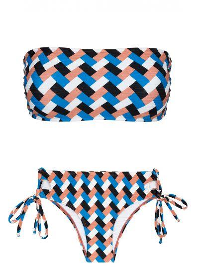 Geometriskt mönstrad bandeau-bikini med sidoknytband på nederdelen - GEOMETRIC RETO