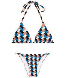 Geometric print triangle bikini - GEOMETRIC TRI INVISIBLE
