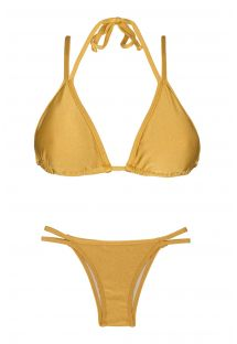 Goldener Triangel-Bikini, doppelte Träger - GOLD DUO