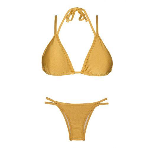 Купальник-бикини треугольниками, золотистого цвета с двойными бретелями - GOLD DUO