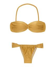 Bandeau style gold brazilian bikini with sliding bottom - GOLD TOMARA QUE CAIA