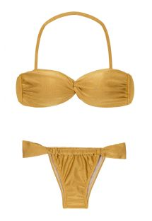 Gyldenbrun bandeau bikini med glidende brasiliansk bikinitrusse - GOLD TOMARA QUE CAIA