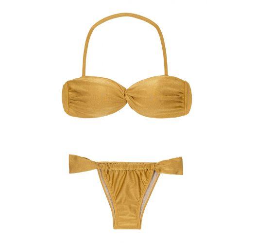 Bandeau style gold brazilian bikini with sliding bottom - GOLD TOMARA QUE CAIA