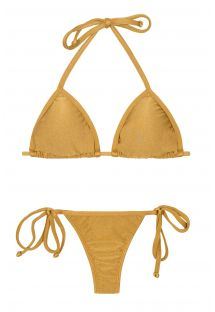 Gold bikini with tie-side thong bottoms - GOLD TRI MICRO