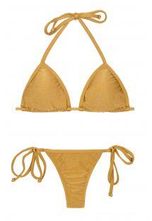 String-bikini, gullfarget med knyting - GOLD TRI MICRO