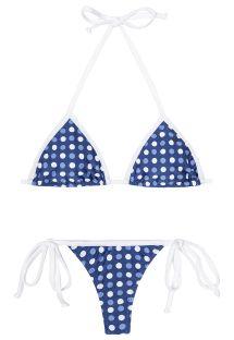 Bikini tanga azul y blanco con lunares - GOLFINHO