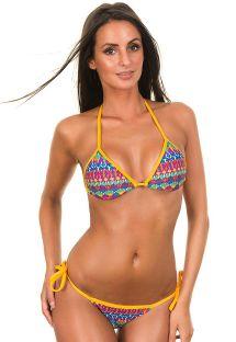 Geometrische driehoekige bikini met gele bandjes - GRAVETTE