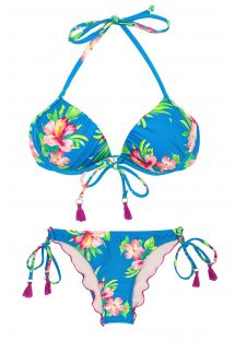 Side-tie floral blue scrunch bikini with pompons - HOOKERI BALCONET