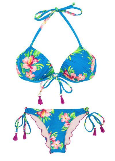 Side-tie floral blue scrunch bikini with pompons - HOOKERI BALCONET