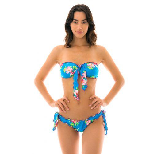 Side-tie floral blue scrunch bikini with a bandeau top - HOOKERI BANDEAU