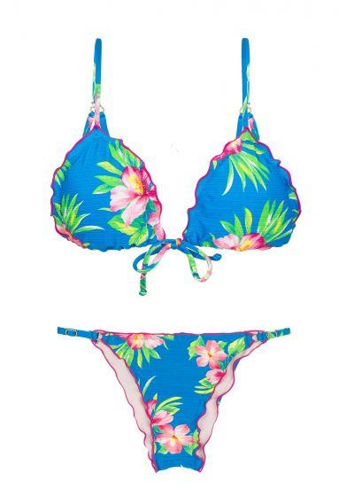 Reglerbar, skrynklad brasiliansk bikini, blommönster på blå botten - HOOKERI FRUFRU FIXO