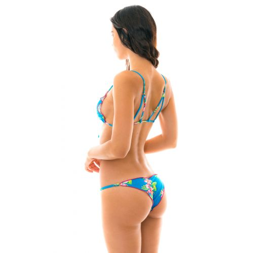 Adjustable floral blue scrunch bikini with front-tied top - HOOKERI FRUFRU FIXO