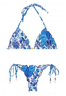 246a5dcf31f Blue and white side-tie string scrunch bikini - HORTENSIA FRUFRU