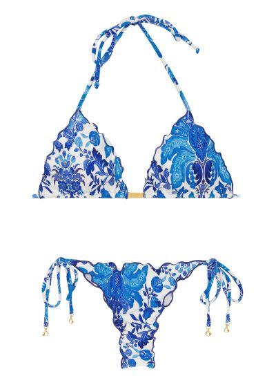 Skrynklad blommönstradstringbikini i blått/vitt - HORTENSIA FRUFRU