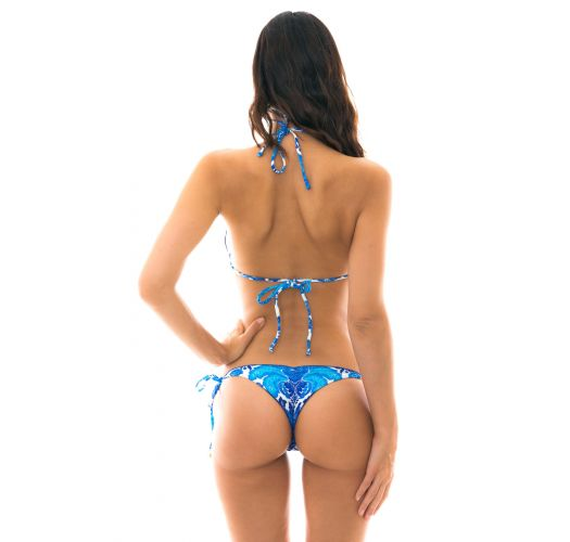 Blue and white side-tie string scrunch bikini - HORTENSIA FRUFRU