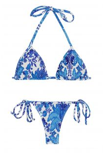 Floral white and blue side-tie string bikini - HORTENSIA MICRO