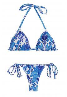 Bikini florealebianco e azzurro con perizoma - HORTENSIA MICRO