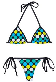Colourful spotted thong bikini, black ties - IBITIPOCA