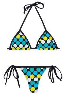 Bikini med g-streng, farvede prikker og sorte kanter - IBITIPOCA