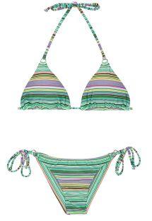 Brazylijski strój kąpielowy w paski zielony - IEMANJA CHEEKY