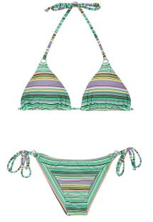 Randig brasiliansk bikini i grönt - IEMANJA CHEEKY
