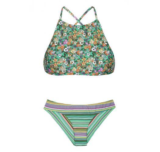Bikini Con Crop Top A Righe E Fiori Sfondo Verde Iemanja Sporty