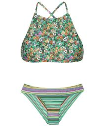 Floral and striped crop top bikini with a mixture prints - IEMANJA SPORTY